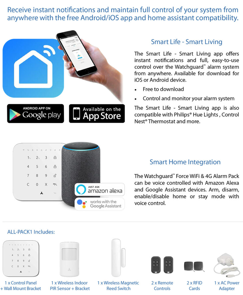 Smart Home Automation - Watchguard Force Wireless 4G WiFi Alarm Kit