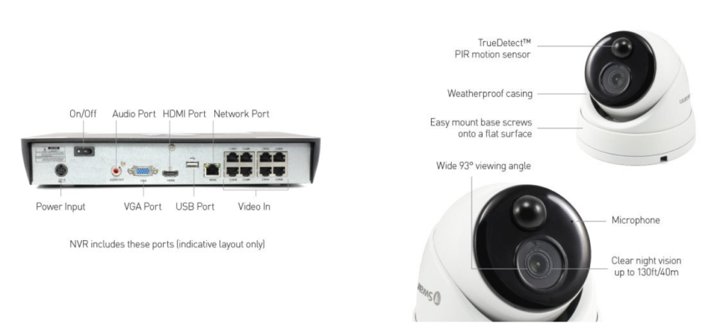 Smart Home Automation - Swann 8 x 8MP 4K UHD True Detect Audio Cams with 2TB 8CH NVR Security Kit