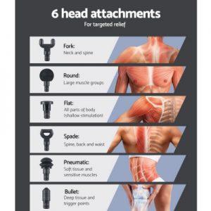 Smart Home Automation - 10 Speed LCD 6 Head Deep Muscle Tissue Massage Gun