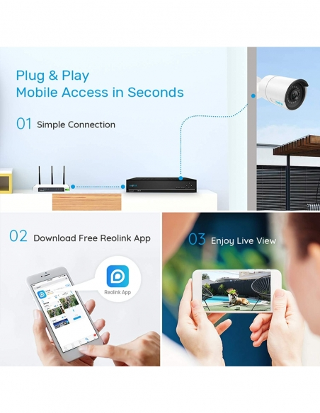 Smart Home Automation - Reolink 4x PoE Cameras 5MP 4K 8CH 2TB NVR System