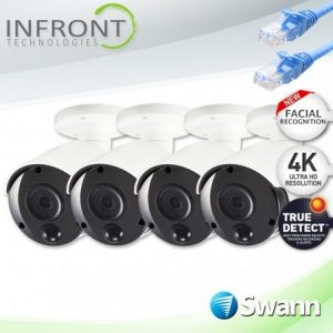 Smart Home Automation - Swann 4x 1-Way Audio Facial Recognition 4K Bullet Cameras
